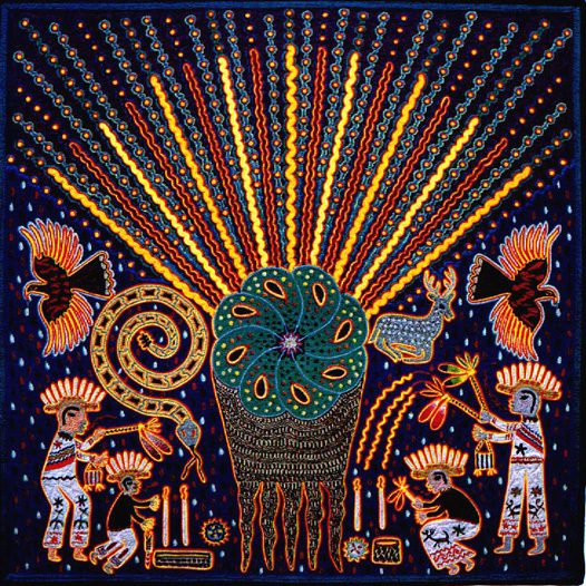 Huichol indian yarn painting of peyote cactus