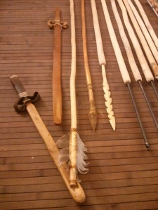 Atlatl and spears or darts made and photographed by Jack Johnson