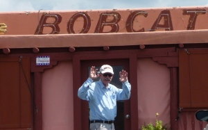 Steve gives the Bobcat wave.